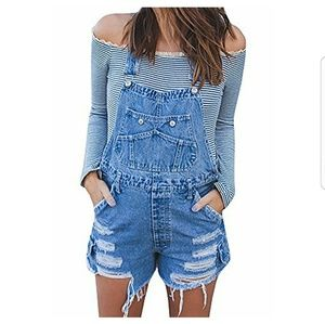 Denim - Distressed Jean Overall Shorts
